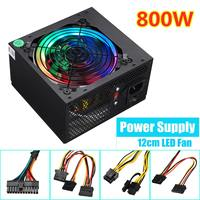 800W 115~230V PC Power Supply 12cm LED silent Fan with Intelligent temperature control Intel AMD ATX 12V for Desktop computer