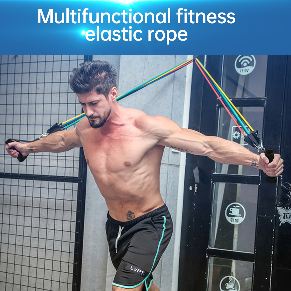 11pcs Resistance Bands Set Pull Rope Home Gym Equipment Fitness Yoga Exercise