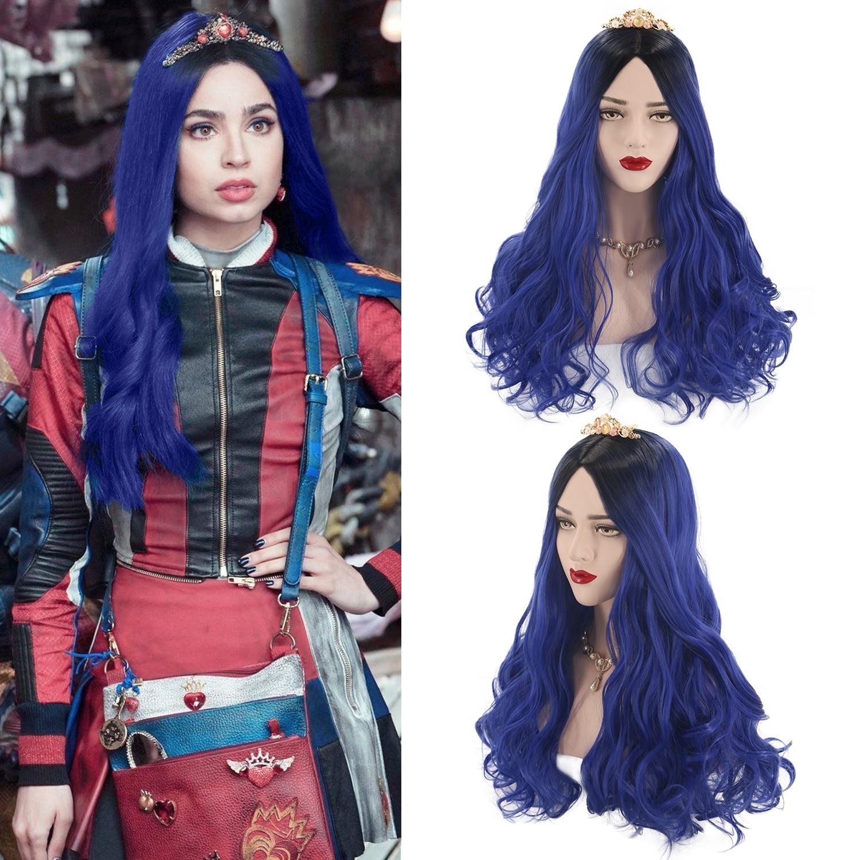 Descendants 2 Mal Evie Womens Kid Girl Cosplay Fancy Dress Costume Long Wig