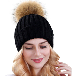 Xthree mink and fox fur ball cap pom poms winter hat for women girl s hat knitted  beanies cap brand new thick female cap