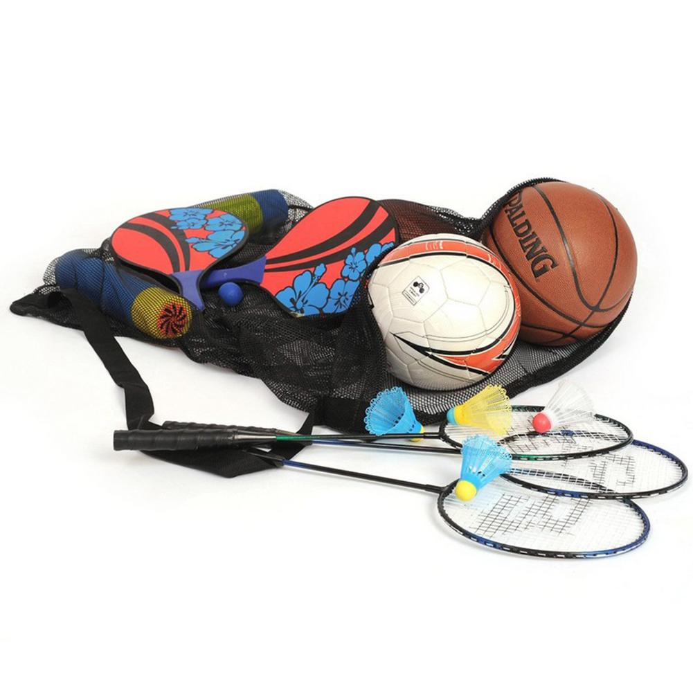 Extra Large Waterproof Mesh Ball Bag Equipment Bag Multiple Ball Pocket Storage Bag Heavy Duty Football Basketball Volleyball Soccer Net Carrying Bag Tote Storage Sack with Drawstring for 10-15 Balls