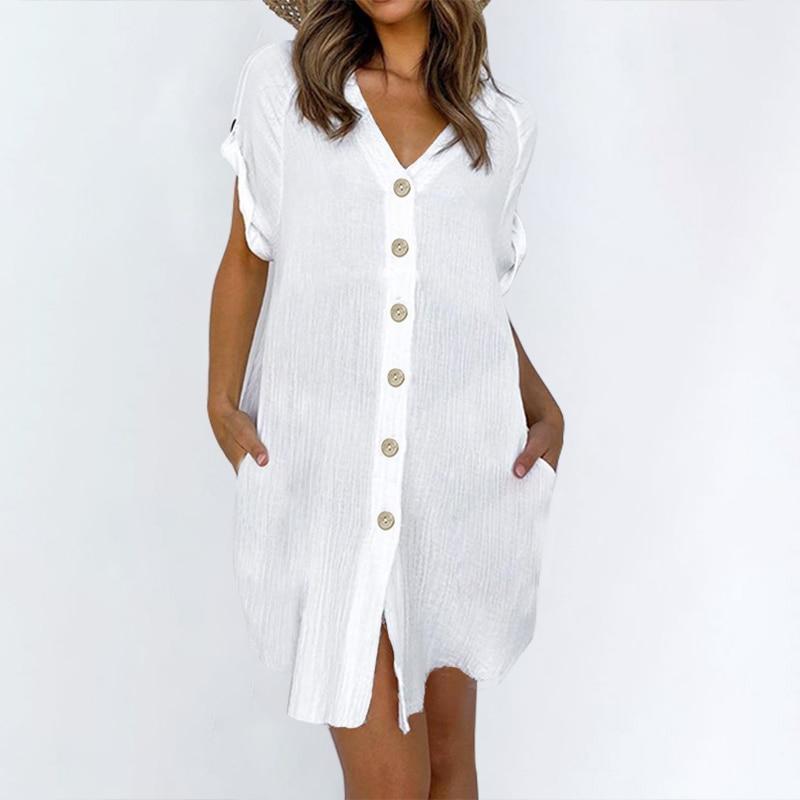 Women V Neck Short Sleeve Solid Mini Party Beach Sundress