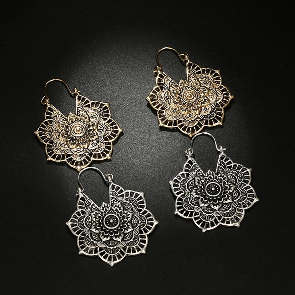 Retro elegant lady bohemian openwork flower alloy earrings fashion trend earrings sisters banquet wedding gifts daily