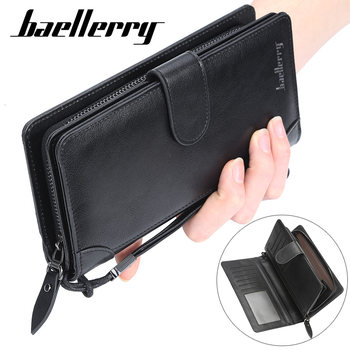 Fashion Mens Wallets Brand Bill clutch Wallet Brown PU Leather Wallet /Purse For Man Bifold Credit Card Photo Male Money Bags