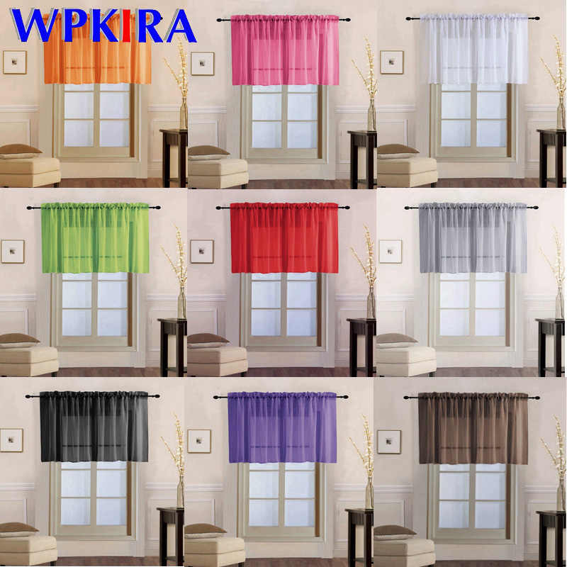 1 PCS Rod pocket Rainbow Half Curtain for Living room Transparent Sheer Tulle Short Curtain for Kitchen Door Small Window WP184