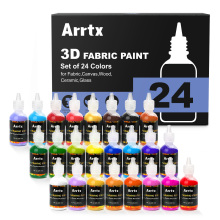 Fabric-Paint Assorted-Colors Arrtx Ceramic/glass 3D 24 for Fine-Point-Tip Precise-Application