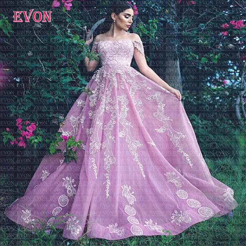 Elegant Pink A Line Prom Dresses Long 2020 Off The Shoulder Sequins Lace Formal Party Prom Gowns Vestidos De Gala Robe De Soiree