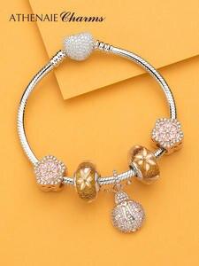 ATHENAIE, модный, 925 пробы, серебряный, прозрачный, CZ, счастливый, розовый, божья коровка, подвеска, подвеска, подходит для браслета, ожерелье, розо...