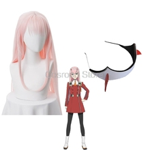 Two-Cosplay Wigs Headwear DARLING Zero Hair-Clip Anime 02 The FRANXX Pink Long Two-02