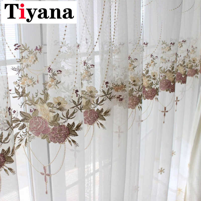 Tiyana Luxury Flower Design Curtains For Living Room Bedroom Kitchen Sheer Curtain Tulle Window Drapes M063X