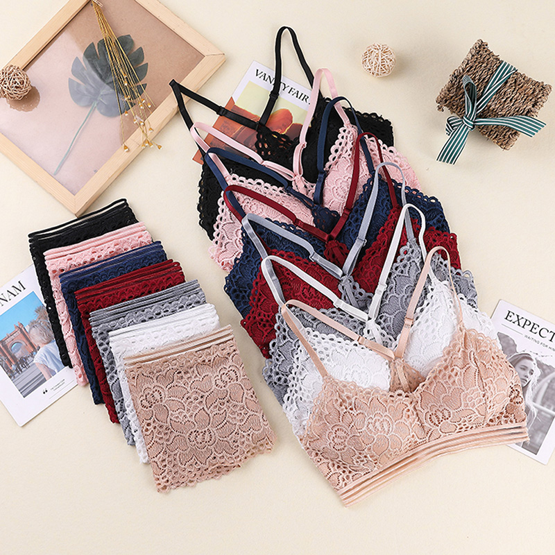 New Women Wire Free Bar Set Underwear Brassiere Lingerie Sexy Lace Bra Set Brief Bra 6 Colors