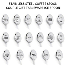 Dessert Spoon Ice-Cream Coffee-Tea Long-Handle Valentine New-Year Tableware Gift Lettering