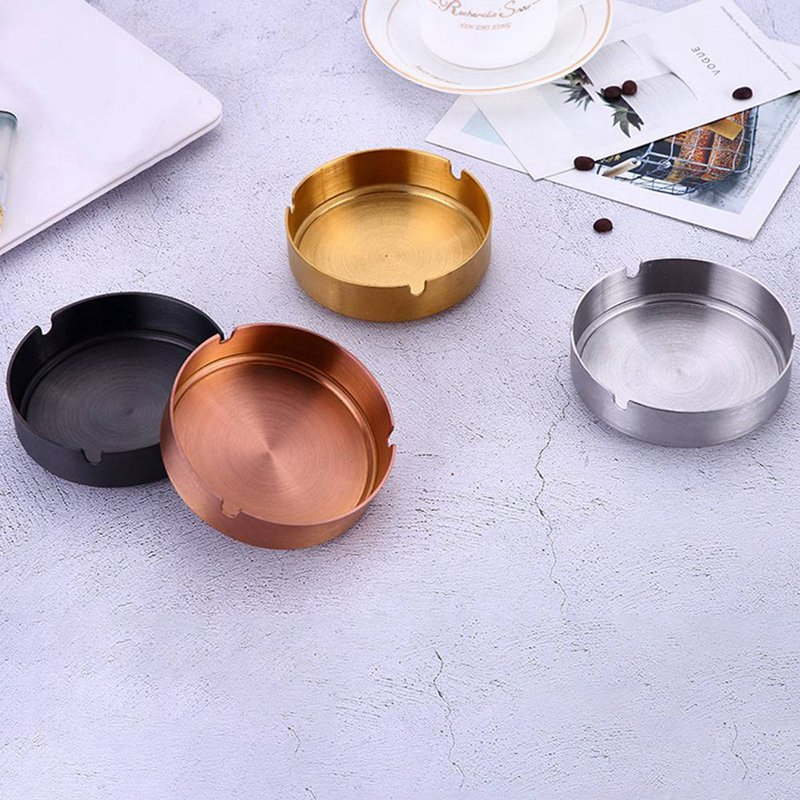 Stainless Steel Gold-plated Ashtray Cigar Ashtray Ash Tray Cigarette Rest Holder Gold Silver