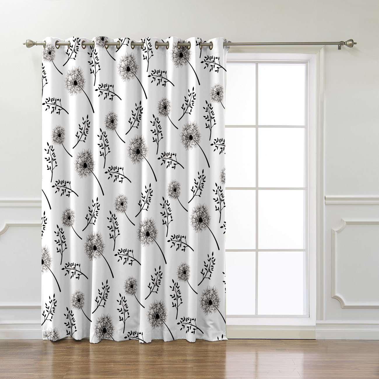 Lovely Dandelion Plant Window Treatments Curtains Valance Room Curtains Large Window Curtain Rod Bathroom Blackout Outdoor
