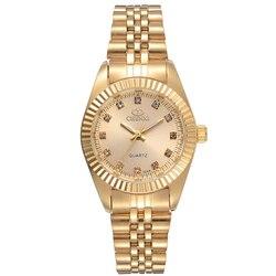 Женские кварцевые часы CHENXI, водонепроницаемые, золотого цвета со стразами
