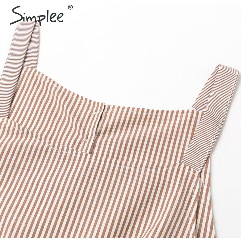 Simplee Spaghetti strap striped summer dress women A-line high waist casual female sundress Back button ladies beach short dress