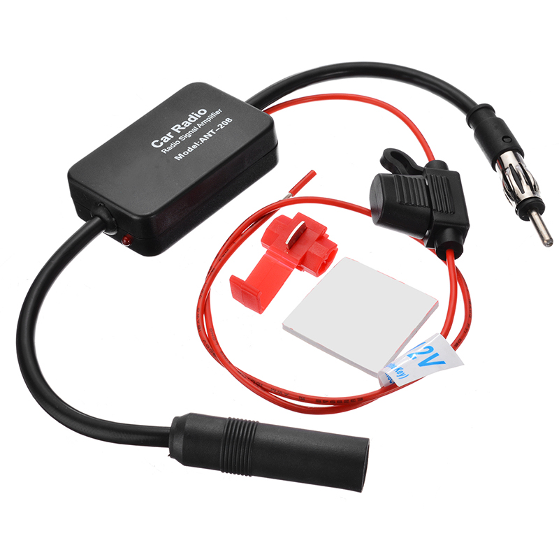 DC 12V FM 88-108MHz Car Antenna Signal Amp Booster Radio Amplifier Car Electronics Automobiles Audio Black Car Accessories