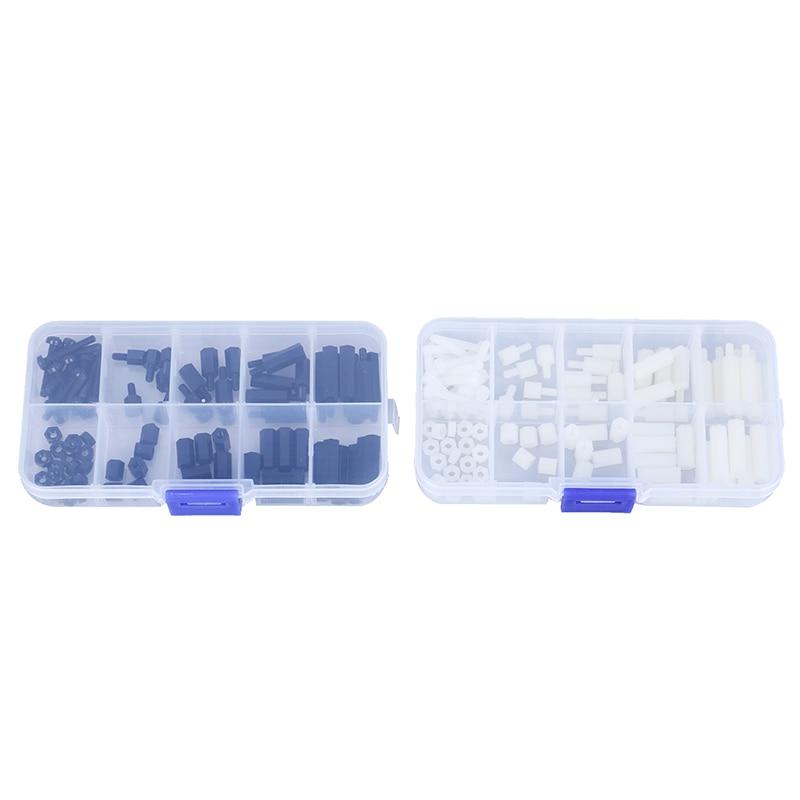 88pcs/Set New Hot Plastic M3 Nylon Hex Spacers Screw Nut Column Kit Box Set