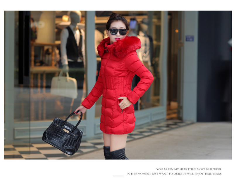 Winter Long Women Coats Parkas Slim Pleated Black Female Coat Outwear Fashion Disassembled Hooded Cotton Women Jackets MLD1271 9