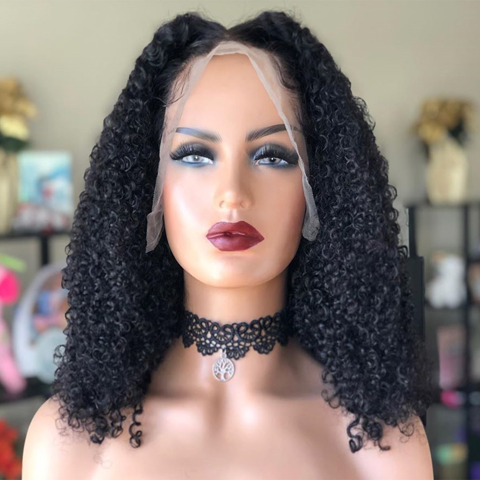 13x4 Super Curly Short Bob Wig Remy Brazilian Lace Front Human Hair Wigs For Women Black Color 130% Middle Ratio Pre Plucked