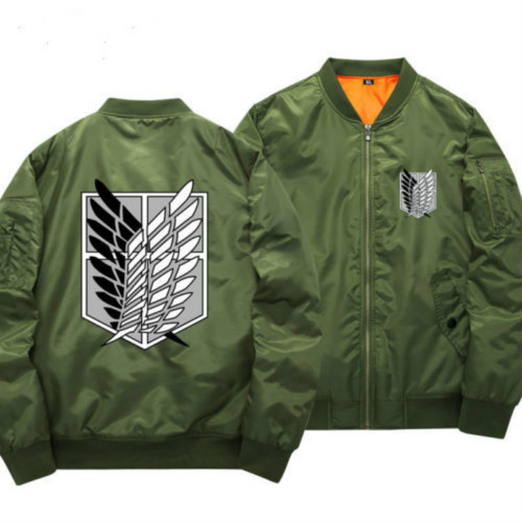 Attack on Titan Cosplay Anime Coat Jacket Sweater Cotton Thick Hoodie Zipper Bomber Jacket