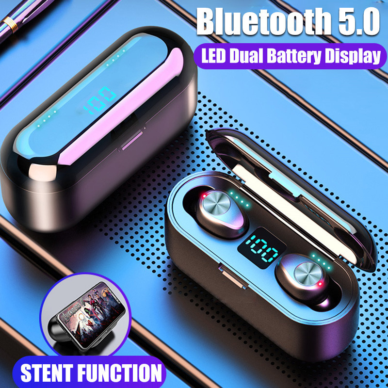 Electronics - Sport Wireless Earphone Bluetooth V5.0 F9 TWS Wireless Bluetooth Earbuds LED Display With 2000mAh Power Bank Headset Earphone