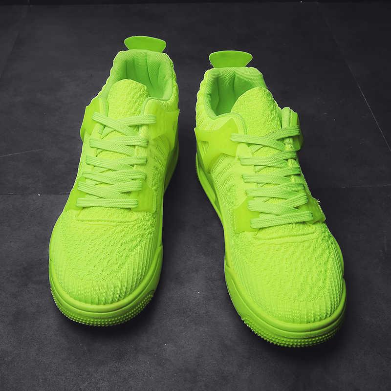 fluorescent green sneakers