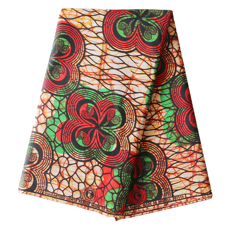 Flowers Print-Fabric Real-Dutch-Wax African-Guarantee Pure-Cotton Red And Green 6yards title=