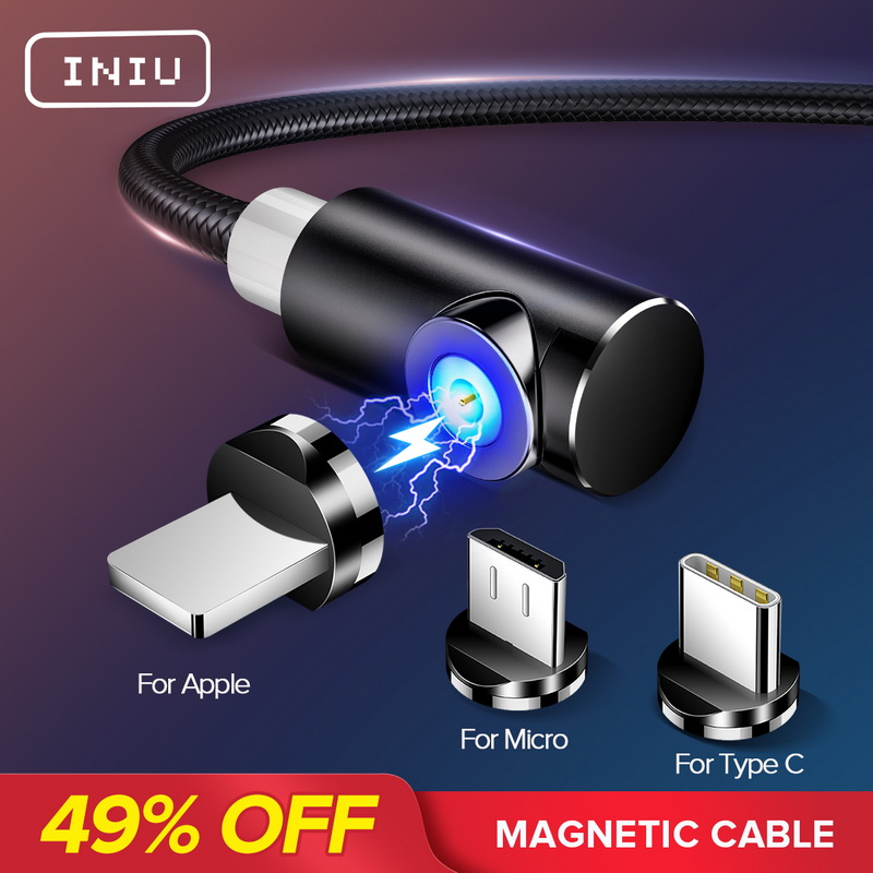 INIU 2m Magnetic Cable Micro USB Type C Adapter Charger Fast Charging For iPhone XS Max title=