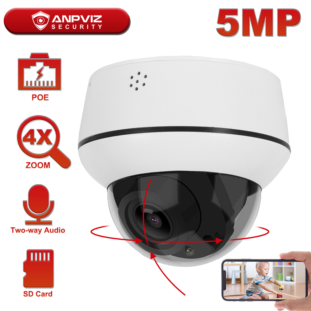Anpviz 2MP/5MP IP POE PTZ Camera Dome 4X Zoom Outdoor Security IP Camera Two-Way Audio Built-in Mic and Speaker 30m Onvif IP66