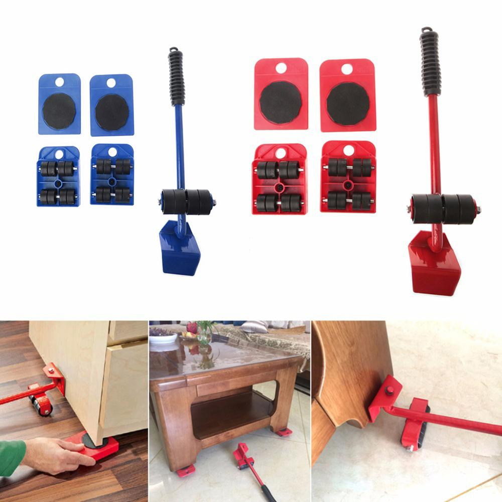 5PCS Furniture Lifter Heavy Professional Furniture Roller Move Tool Set Wheel Bar Mover title=