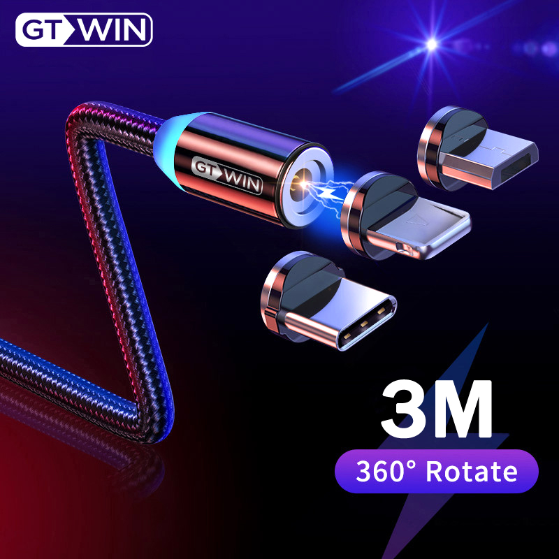 GTWIN Magnetic USB Cable For iPhone XS Max Micro USB Type C Adapter Charger Fast Charging title=