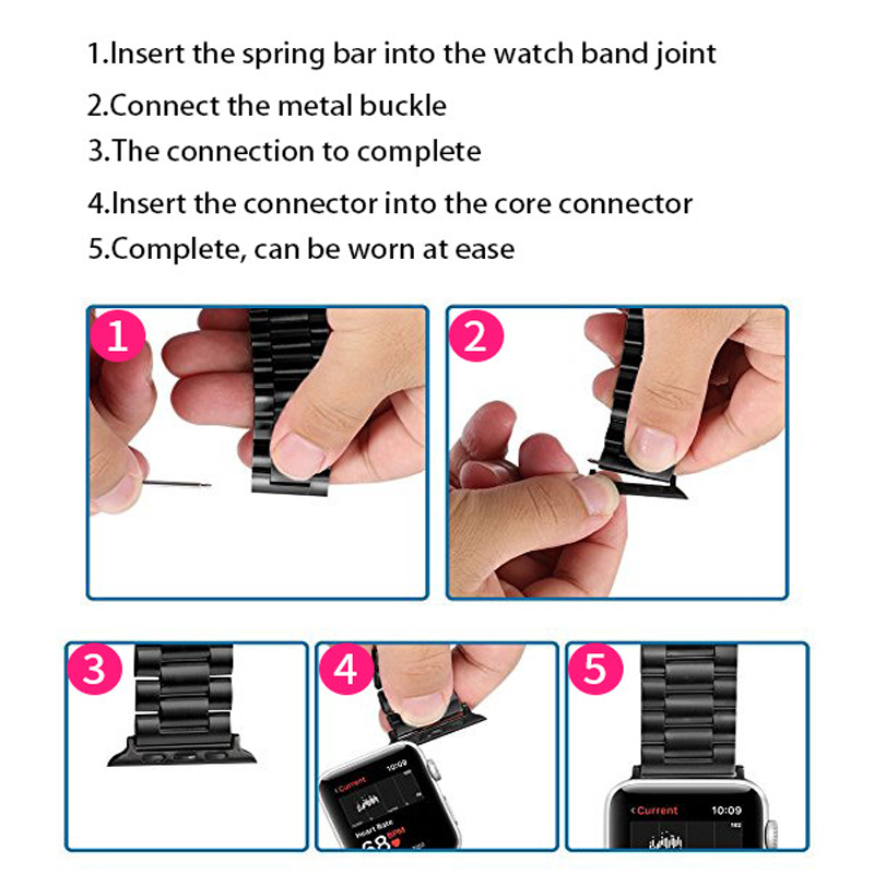 Stainless-Steel-connector-For-Apple-Watch-Series-3-series-2-series-1-Bracelet-38mm-42mm-Watchband