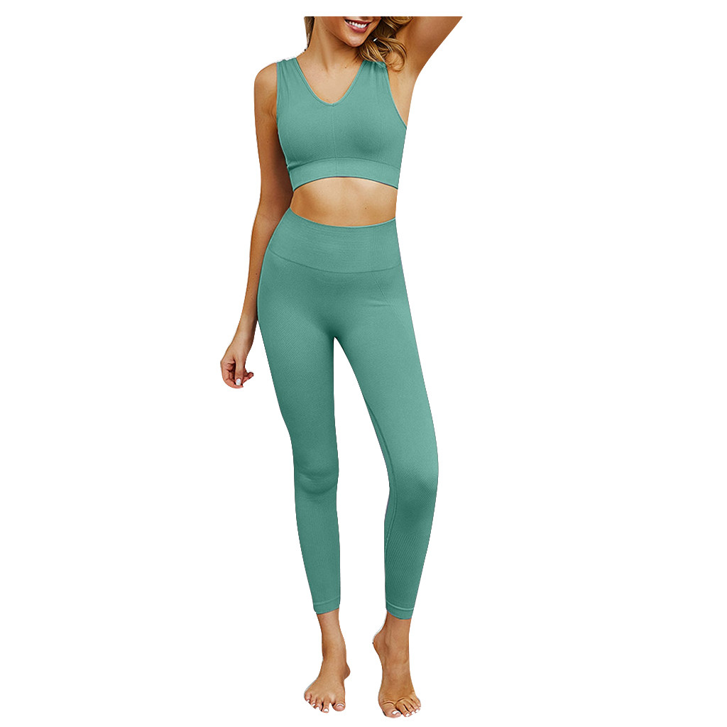 Sport Push Up Leggings Fitness High Waist Women Solid High Waisted Stretchy Slim Fit Sport Sporting Workout Two-Piece Outfits