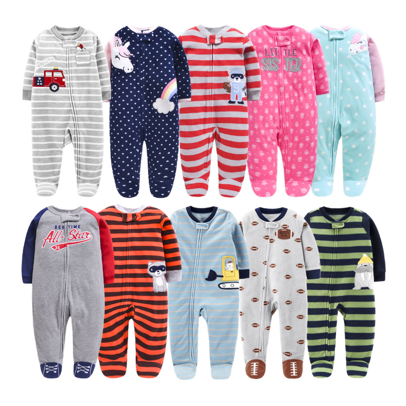 Newborn Baby Rompers 2020 Spring Fall Fleece Warm Little Brother Cartoon All Star Footed Baby Pajamas Infant jumpsuits Sleepwear title=