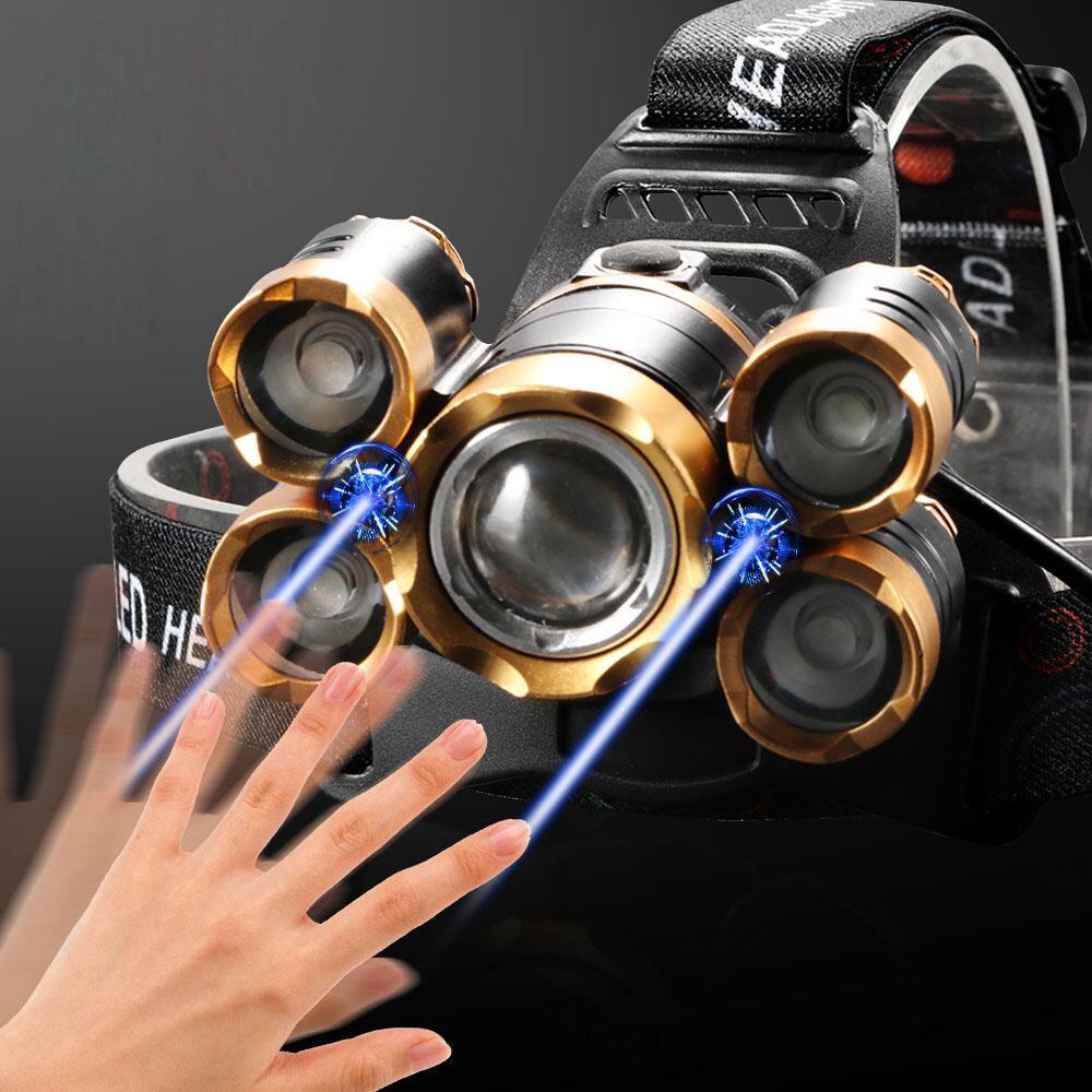 Самый мощный светодиодный налобный фонарь 5LED T6 Фара дальнего света Фонарик налобный фонарь 18650 аккумулятор Лучший для кемпинга, рыбалка
