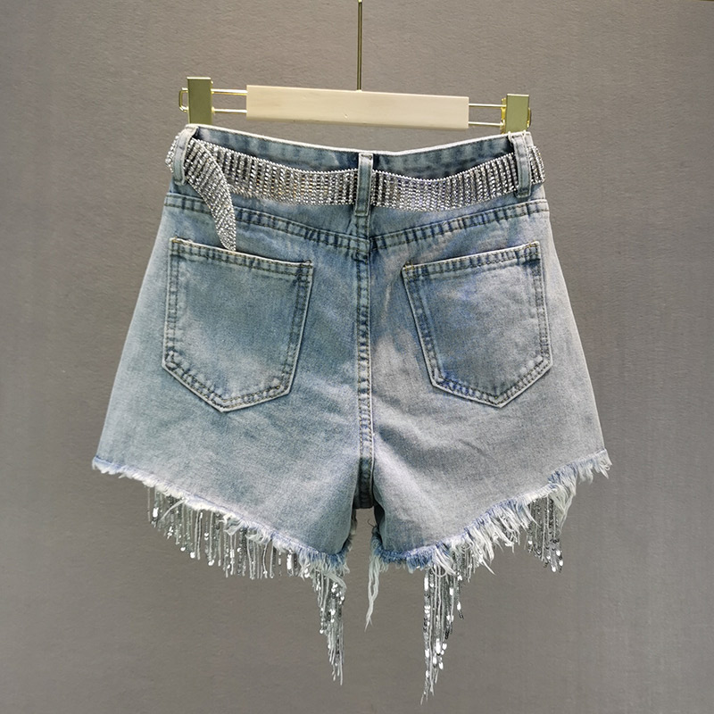 Female Denim Shorts 2020 Summer New High Waist Slimming Heavy Beaded Sequin Fringed Ripped Wide Leg Pants Jeans Shorts