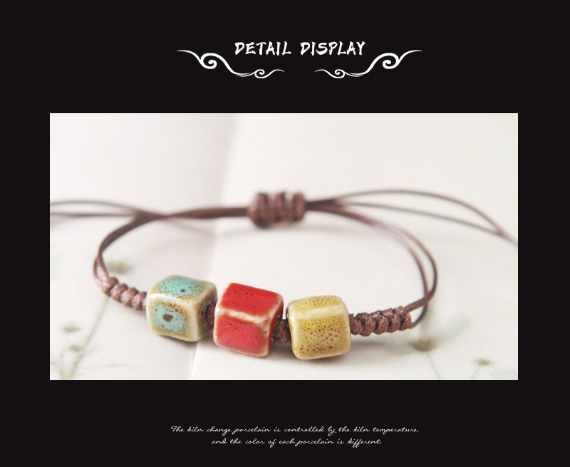 New Simple Bracelet For Women Charm Ethnic Style Heart Square Oblate Triangle Shape Ceramic Pendant Bracelet Female 2