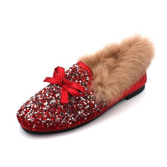 Casual Woman Platform Shoes Autumn Slip-on Dress Flats Women Square Toe Loafers Fur All-Match Boat Fall Glitter Slip On Nurse