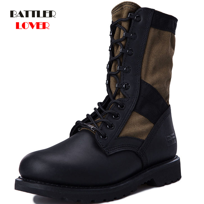 Men Military Boots Army Boots for Mens Cowhide Genuine Leather Canvas Breathe Freely Desert Boots Outdoor Tactical Boots Leather