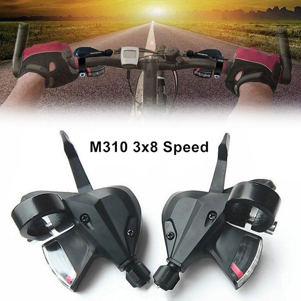 1Pair Aluminium Alloy Bike Bicycle Thumb Gear Shifter 8//24 Speed Shift Lever Set