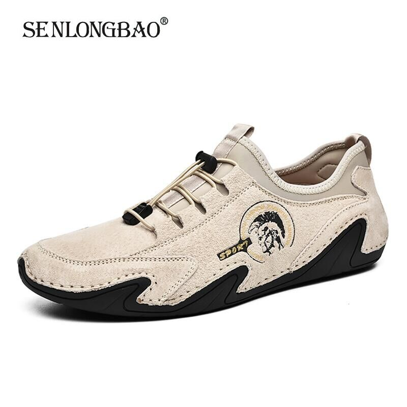 Fashion Genuine Leather Men's shoes Breathable Suede Loafers Hot Sale Men's Casual Shoes Comfortable Boat Shoes Men Moccasins