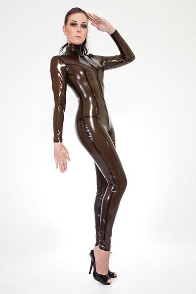 Latex Gummi Rubber Catsuit Overall Ganzanzug transparent schwarz