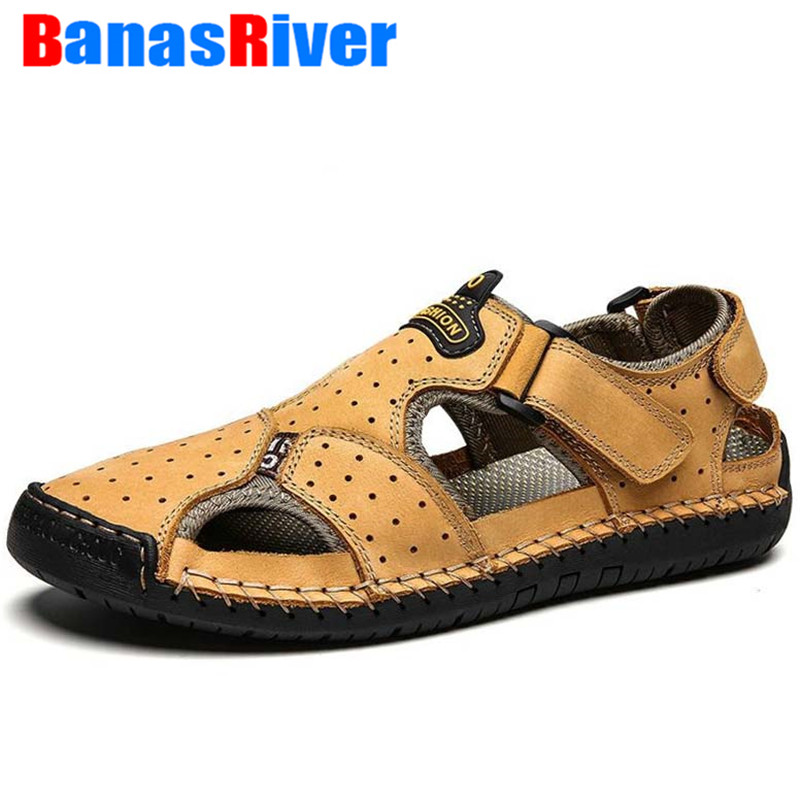 NEW Summer New Leather Outdoor Shoes Men Sandals For Male Casual Classic Water Walking Beach Sneakers Sandalias De Hombre Shoes