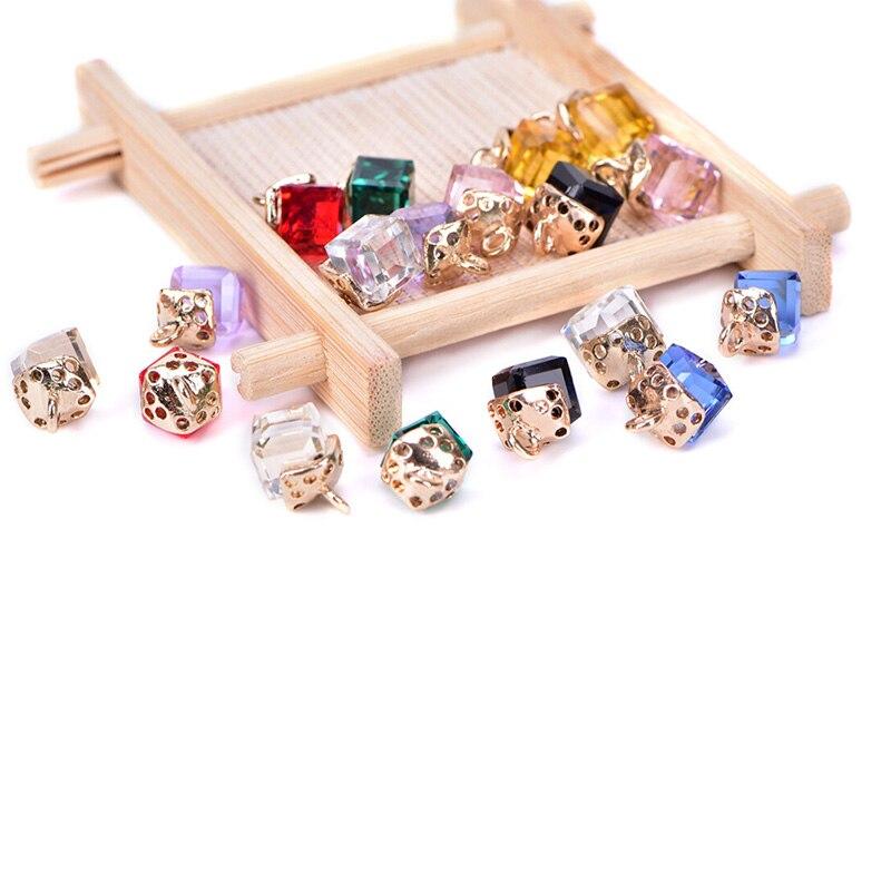 10 Pcs/Set Square Geometric Crystal Charms Pendants DIY Craft Jewelry Making