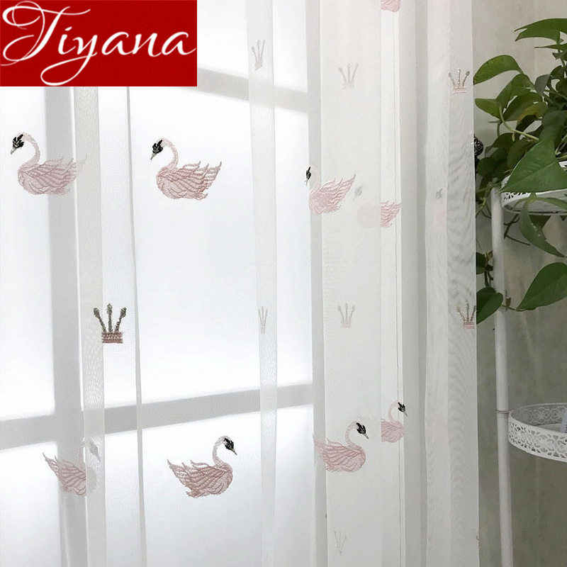 Crown Swan Curtain for Girls Kids Room Cartoon White Net Curtain for Window Bedroom Sheer Fabrics Cortinas X348#30