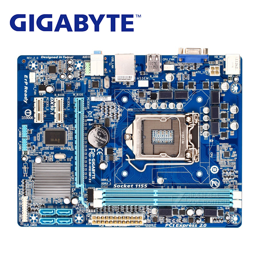 Gigabyte DDR3 Lga 1155 Intel Used-Systemboard GA-H61M-S1 Desktop Sata-Ii for 100%Original title=