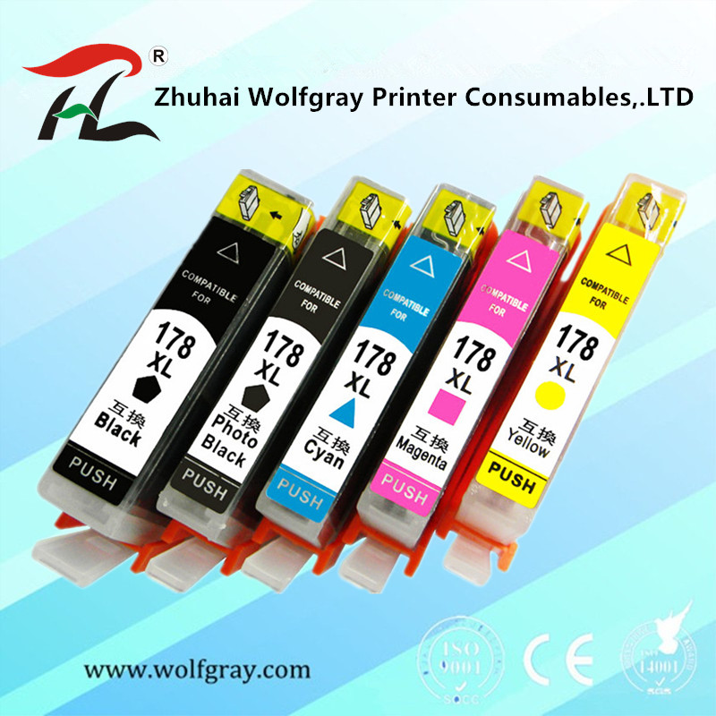 Ink-Cartridge B110a-Printer Photosmart 7510 Compatible B109a HP178 5PK for CAI YI 6510 title=