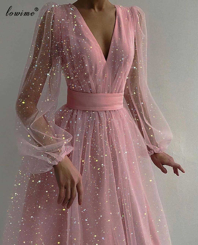 Женское вечернее платье с длинным рукавом, розовое платье с V образным  вырезом в мусульманском стиле, платье для выпускного вечера, 2020|Платья  знаменитостей| | АлиЭкспресс