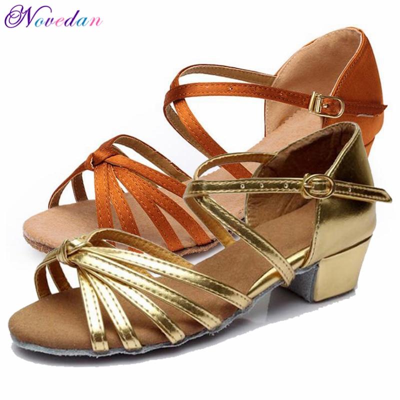 Child Girls New Popular Satin Latin Dance Ballroom Shoes Soft Buckle Low Heel